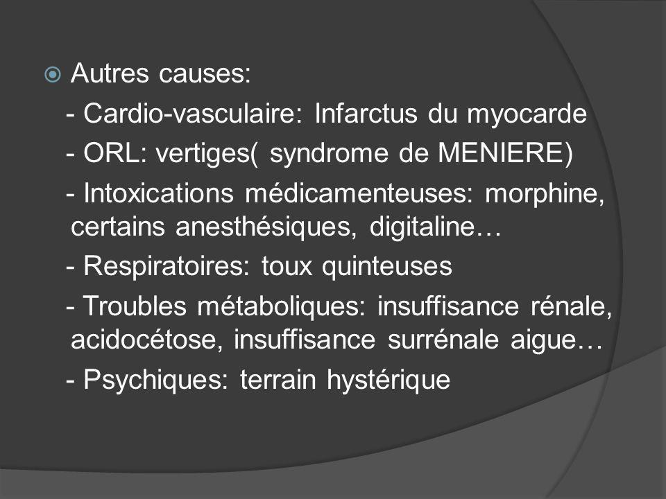 Autres causes: - Cardio-vasculaire: Infarctus du myocarde. - ORL: vertiges( syndrome de MENIERE)