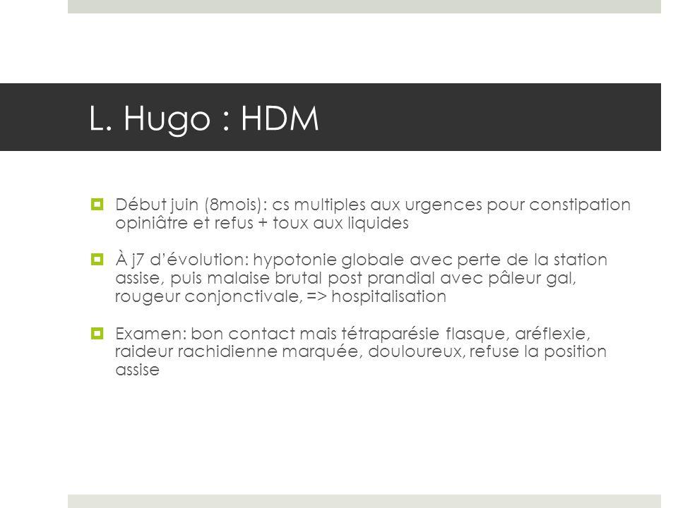 L. Hugo : HDM Début juin (8mois): cs multiples aux urgences pour constipation opiniâtre et refus + toux aux liquides.