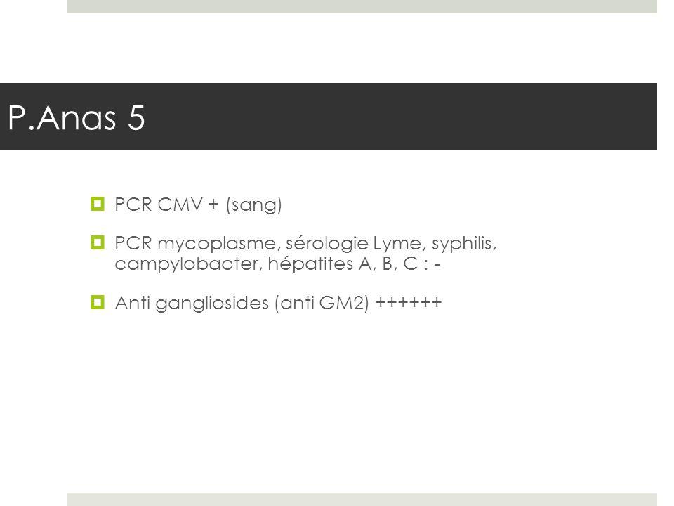 P.Anas 5 PCR CMV + (sang) PCR mycoplasme, sérologie Lyme, syphilis, campylobacter, hépatites A, B, C : -