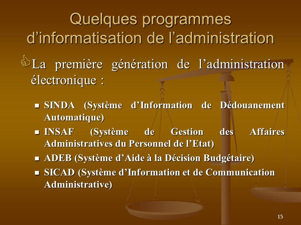 Quelques programmes d'informatisation de l'administration