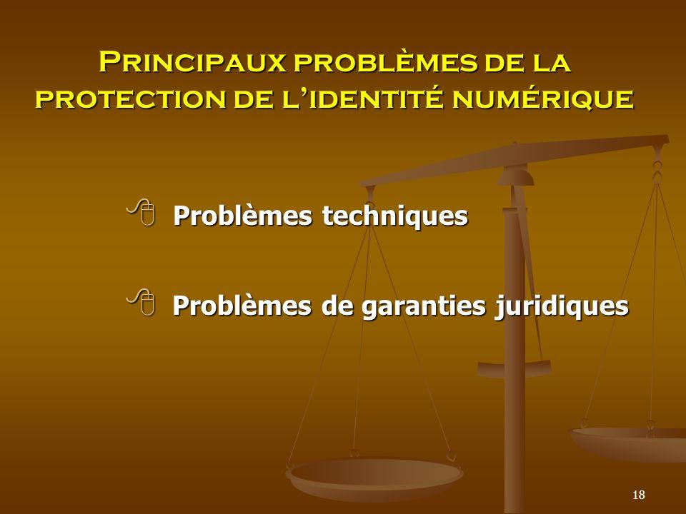 Principaux problèmes de la protection de l'identité numérique