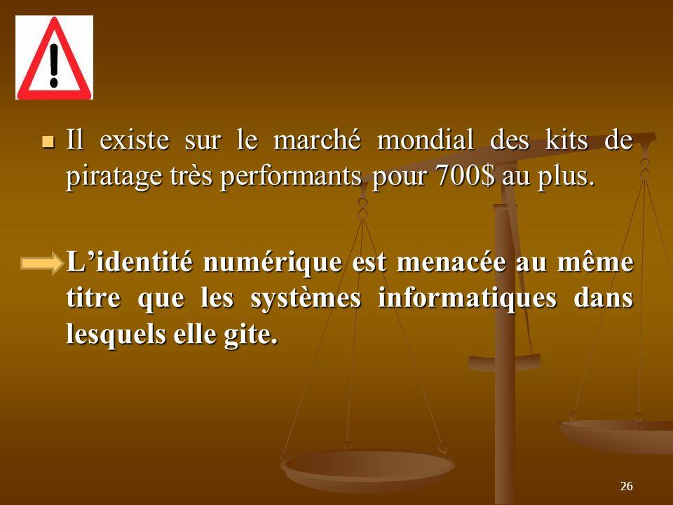 Il existe sur le marché mondial des kits de piratage très performants pour 700$ au plus.