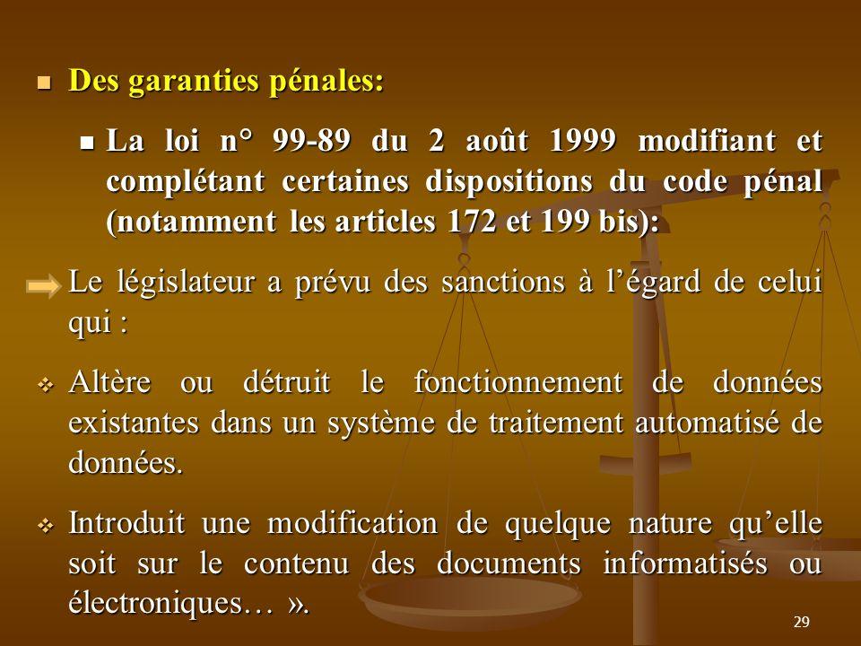 Des garanties pénales: