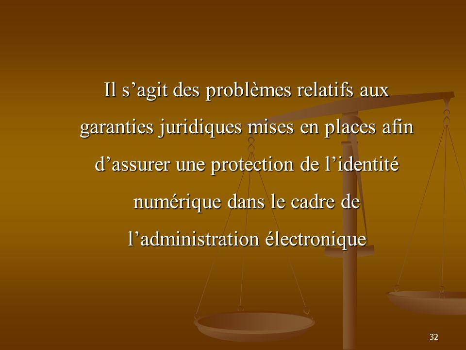 Il s'agit des problèmes relatifs aux garanties juridiques mises en places afin d'assurer une protection de l'identité numérique dans le cadre de l'administration électronique
