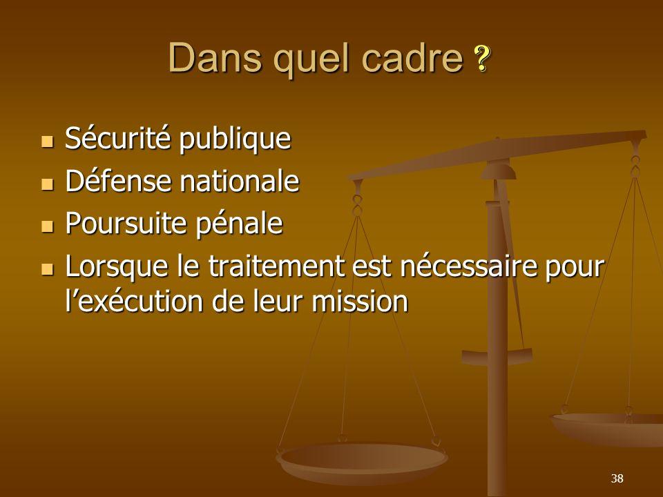 Dans quel cadre Sécurité publique Défense nationale Poursuite pénale