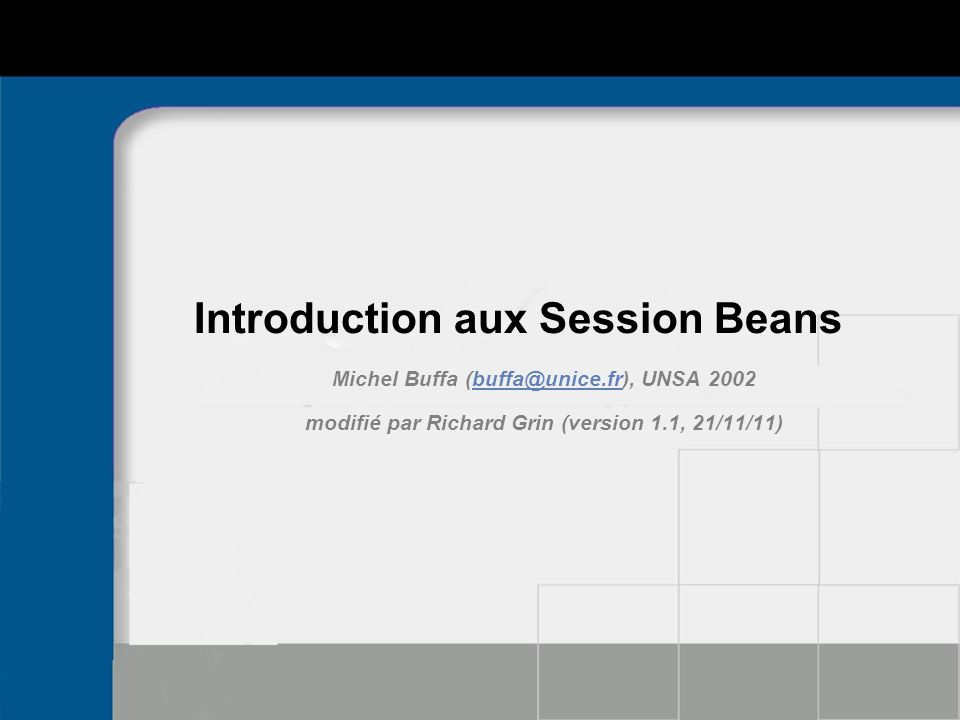 Introduction aux Session Beans
