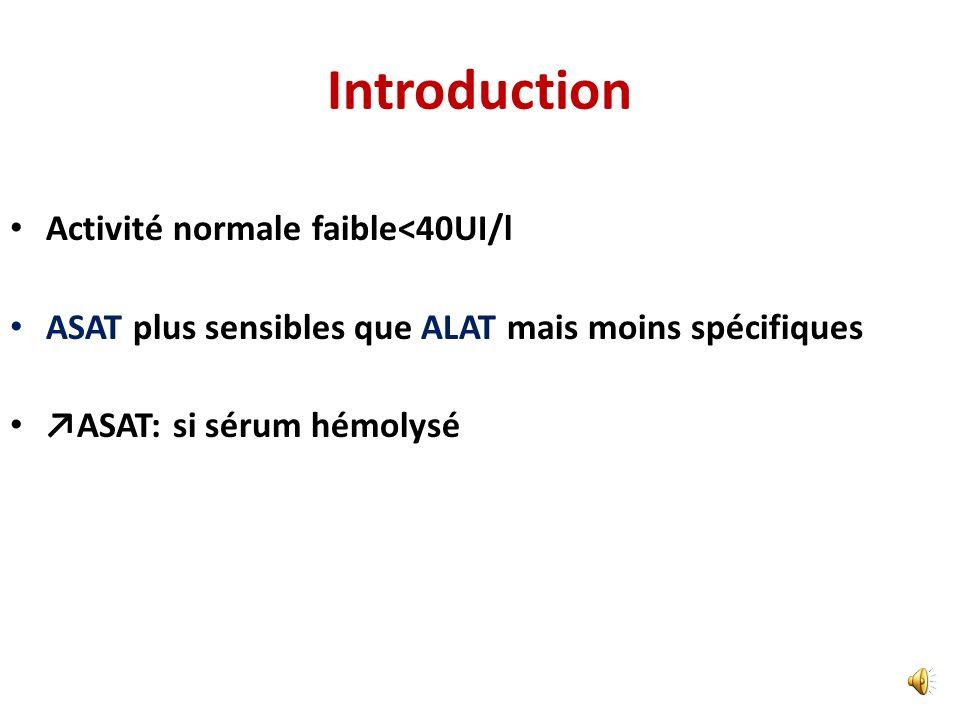 Introduction Activité normale faible<40UI/l