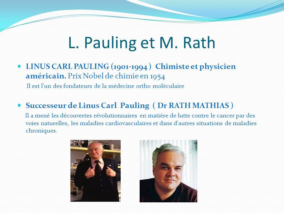 L. Pauling et M. Rath LINUS CARL PAULING (1901-1994 ) Chimiste et physicien américain. Prix Nobel de chimie en 1954.