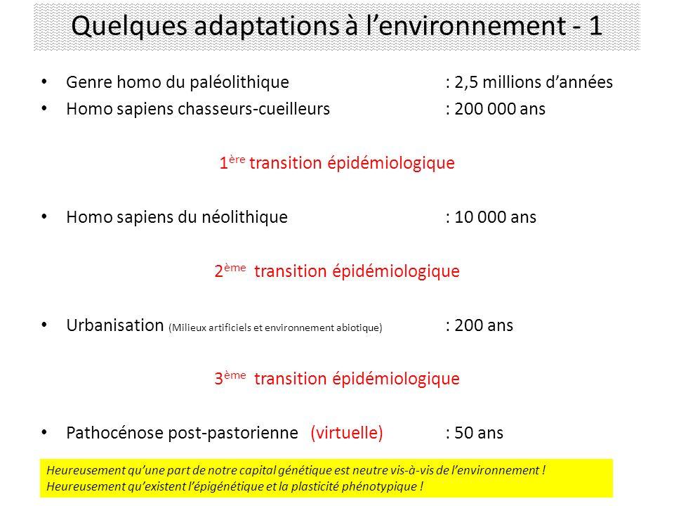 Quelques adaptations à l'environnement - 1