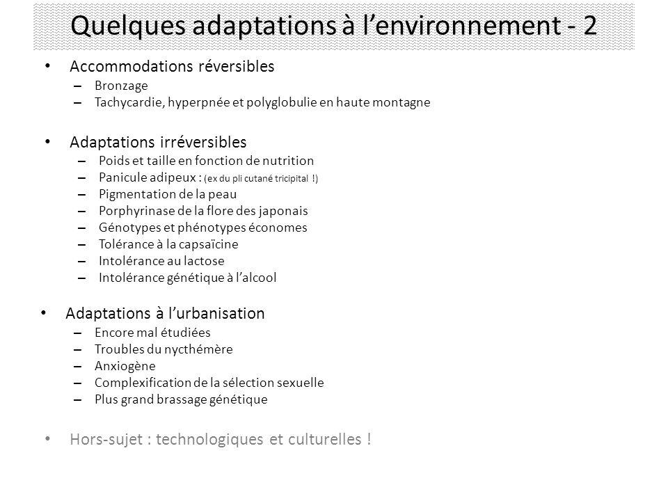 Quelques adaptations à l'environnement - 2