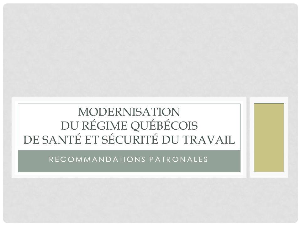 Modernisation du régime québécois de santé et sécurité du travail