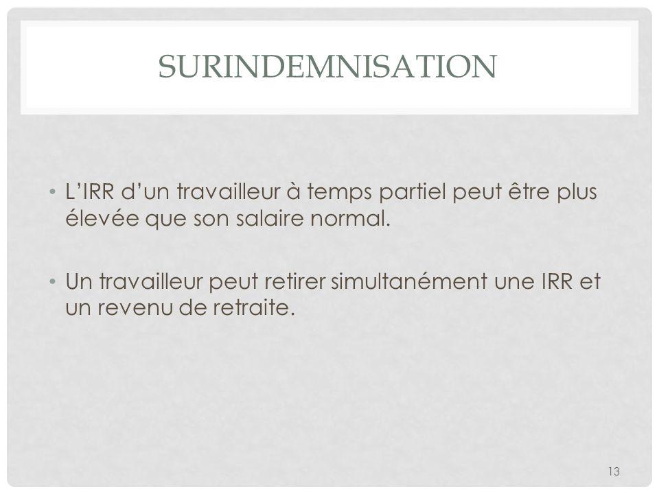 2010-11-29 Surindemnisation. L'IRR d'un travailleur à temps partiel peut être plus élevée que son salaire normal.