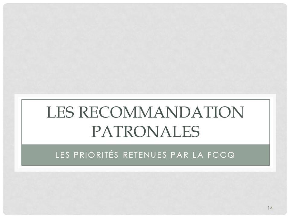 Les recommandation patronales