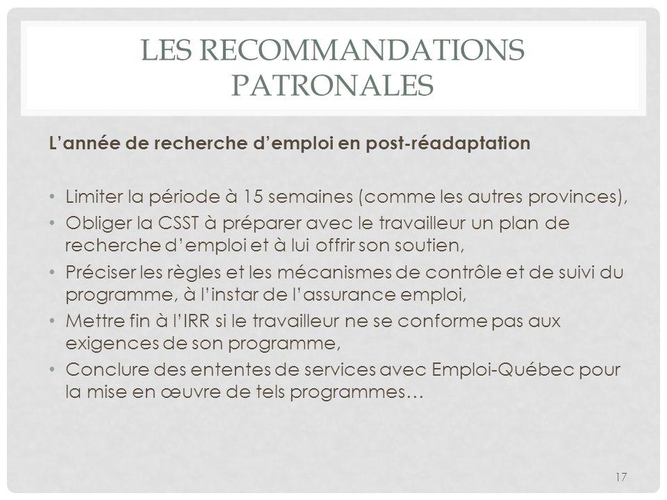 Les recommandations patronales