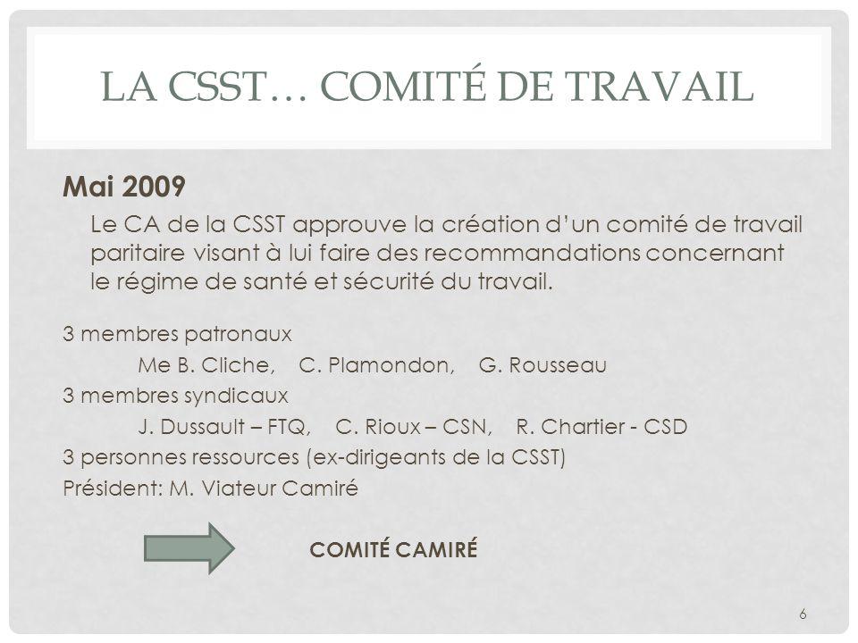 LA CSST… COMITÉ DE TRAVAIL