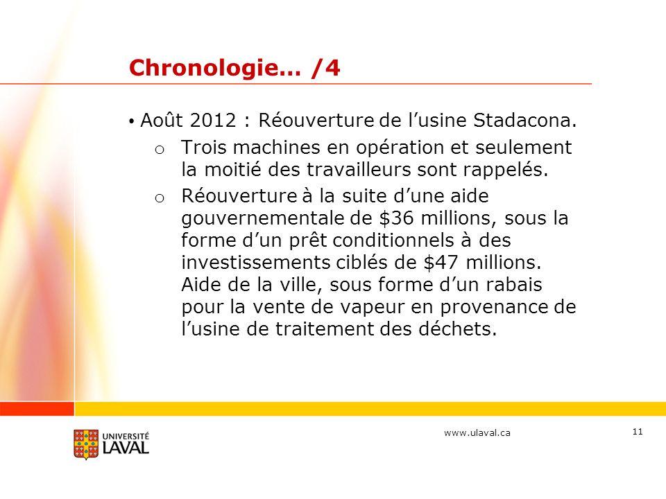 Chronologie… /4 Août 2012 : Réouverture de l'usine Stadacona.