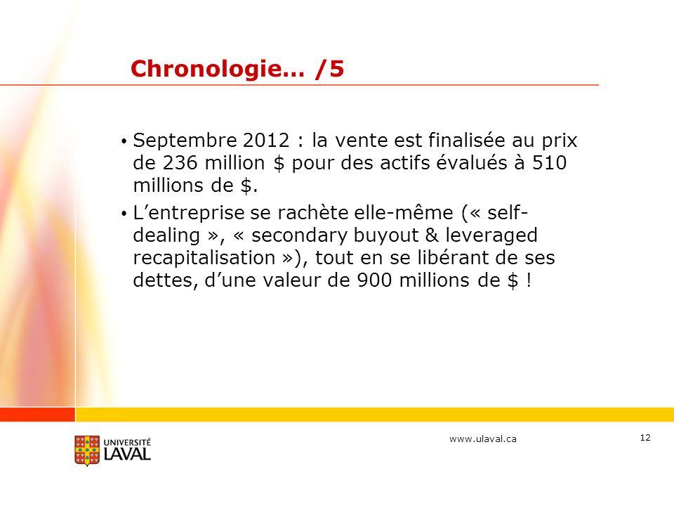 Chronologie… /5 Septembre 2012 : la vente est finalisée au prix de 236 million $ pour des actifs évalués à 510 millions de $.