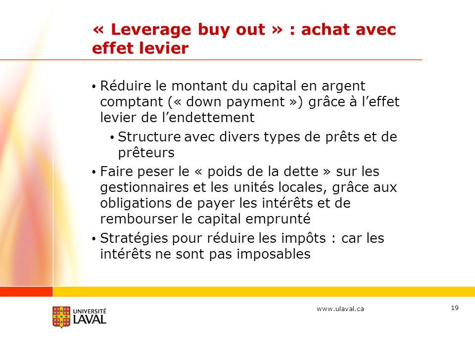 « Leverage buy out » : achat avec effet levier