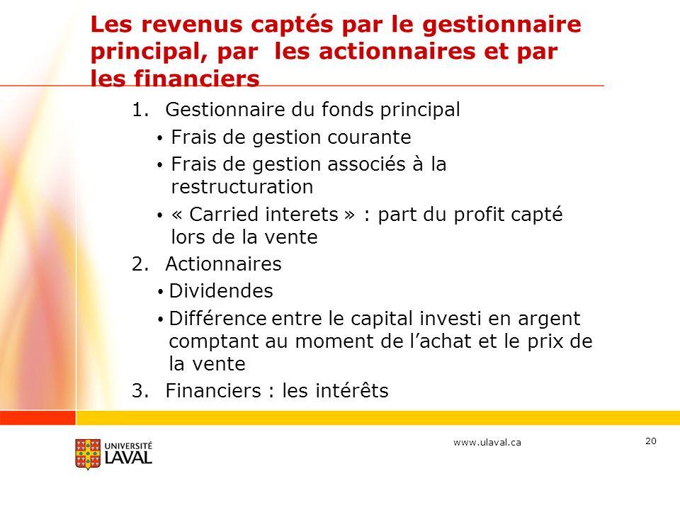 Les revenus captés par le gestionnaire principal, par les actionnaires et par les financiers