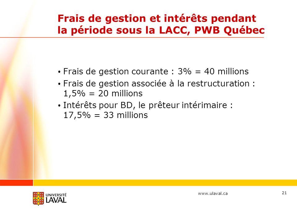Frais de gestion et intérêts pendant la période sous la LACC, PWB Québec