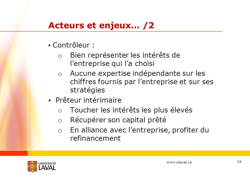 Acteurs et enjeux… /2 Contrôleur :