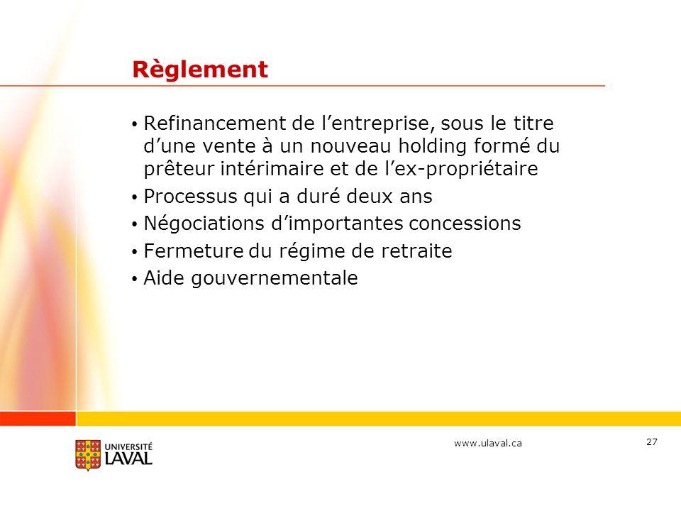 Règlement Refinancement de l'entreprise, sous le titre d'une vente à un nouveau holding formé du prêteur intérimaire et de l'ex-propriétaire.