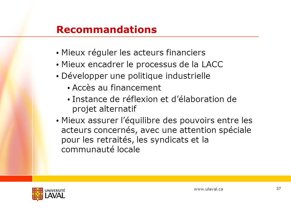 Recommandations Mieux réguler les acteurs financiers