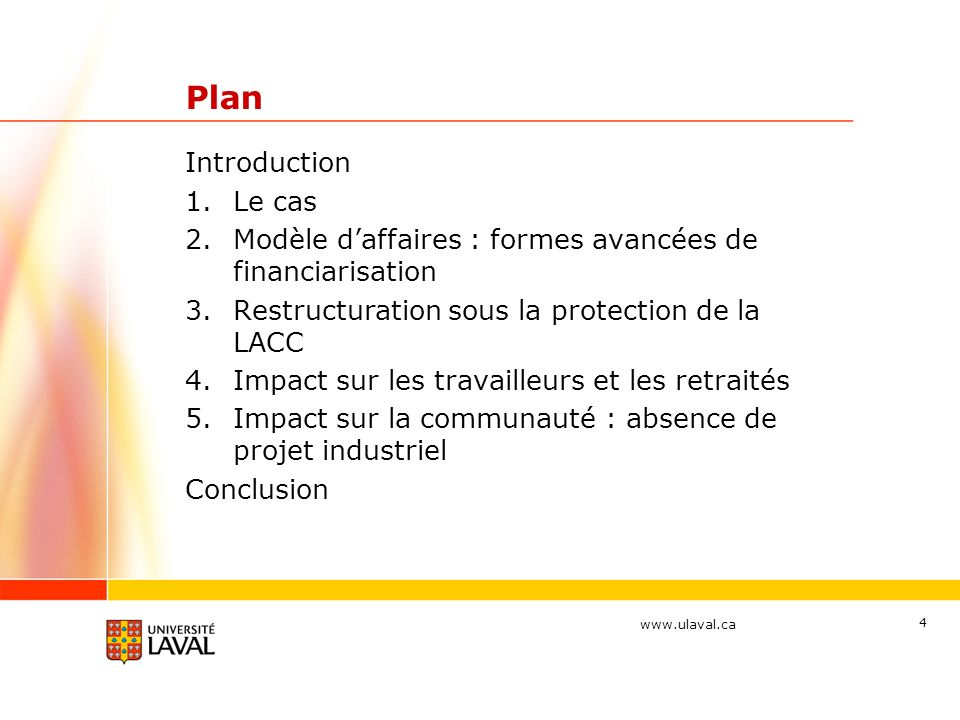 Plan Introduction Le cas