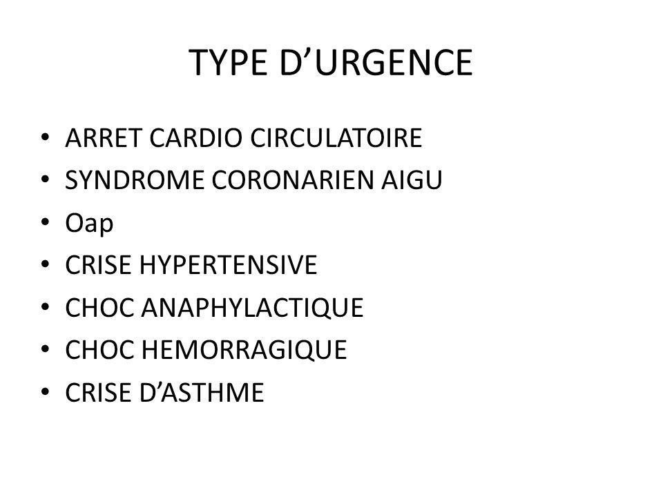 TYPE D'URGENCE ARRET CARDIO CIRCULATOIRE SYNDROME CORONARIEN AIGU Oap