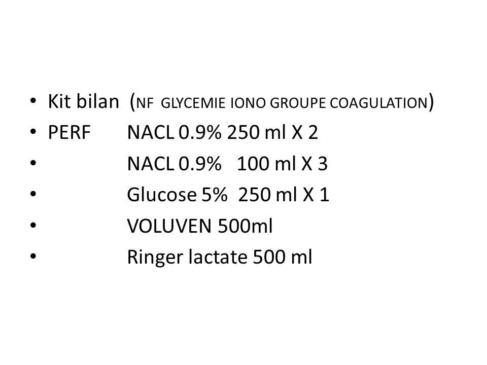 Kit bilan (NF GLYCEMIE IONO GROUPE COAGULATION)