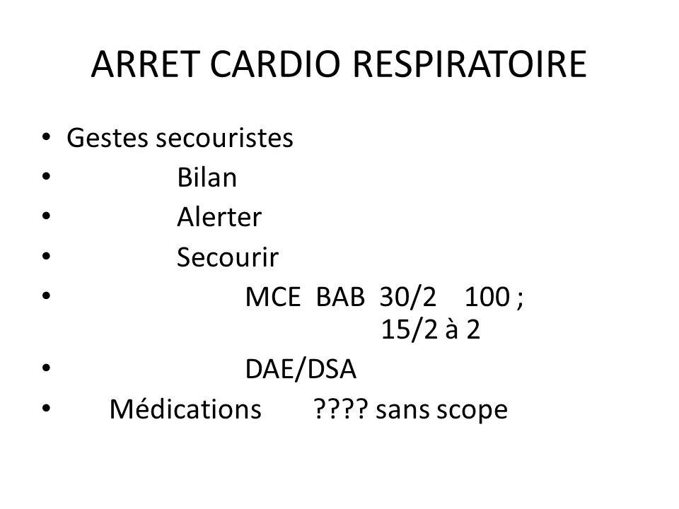 ARRET CARDIO RESPIRATOIRE
