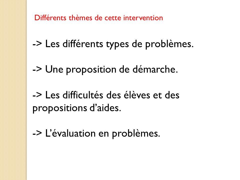 -> Les différents types de problèmes.