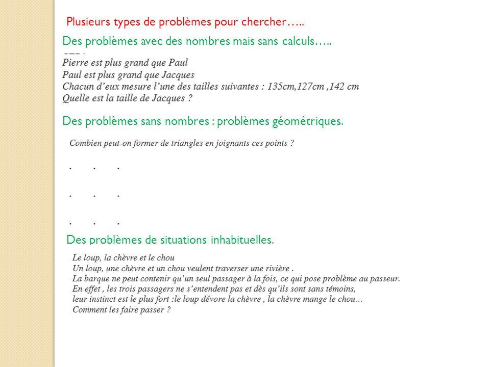 Plusieurs types de problèmes pour chercher…..