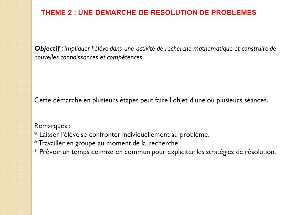 THEME 2 : UNE DEMARCHE DE RESOLUTION DE PROBLEMES