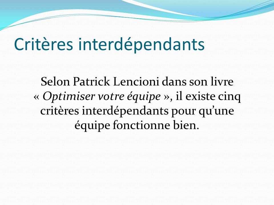 Critères interdépendants