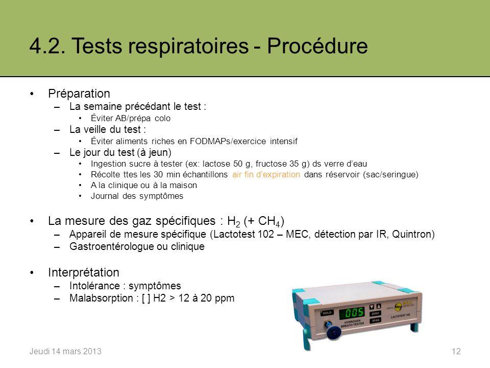 4.2. Tests respiratoires - Procédure