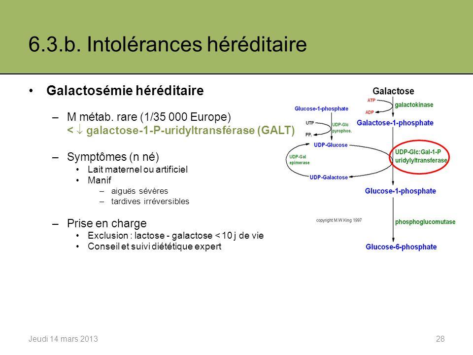 6.3.b. Intolérances héréditaire