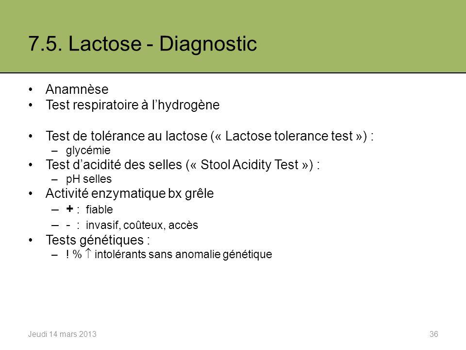 7.5. Lactose - Diagnostic Anamnèse Test respiratoire à l'hydrogène