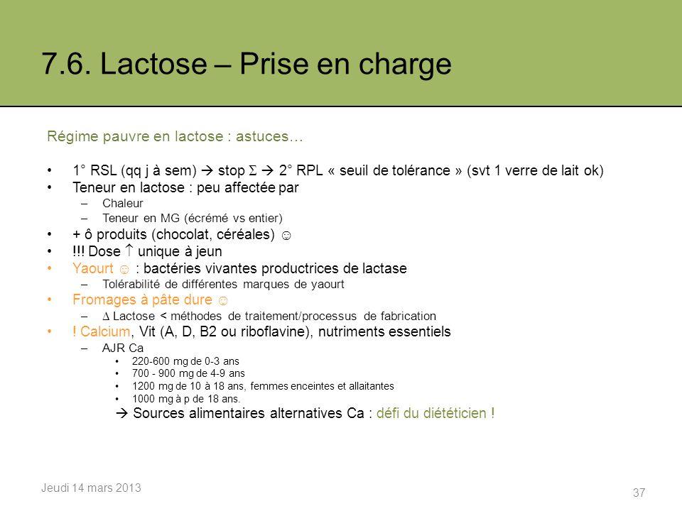 7.6. Lactose – Prise en charge