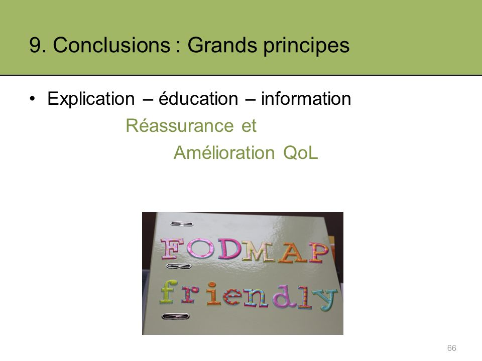 9. Conclusions : Grands principes