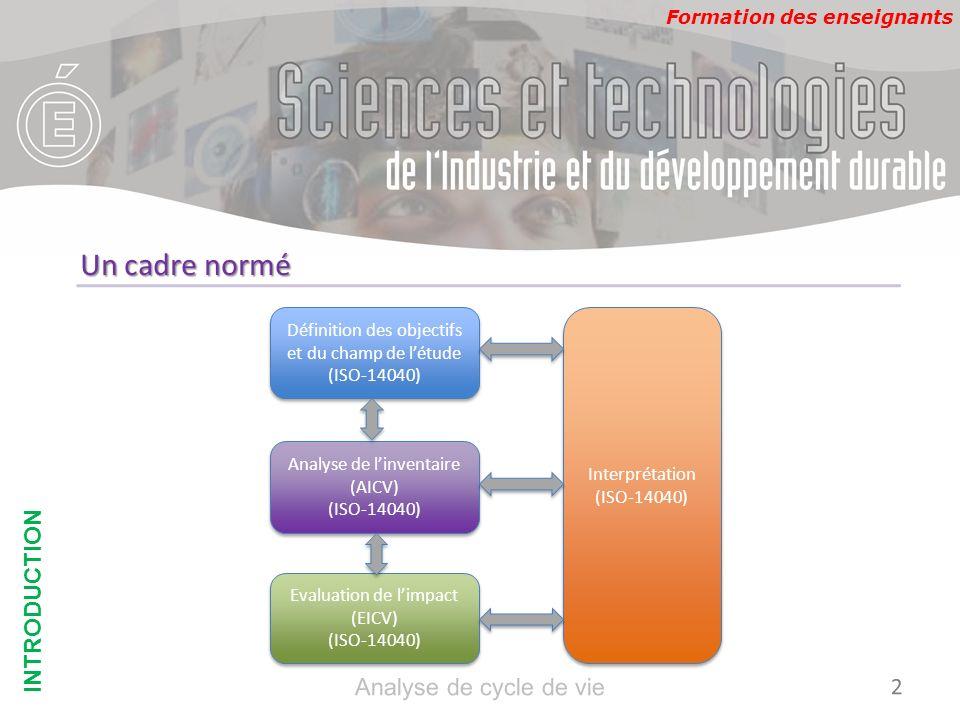 Un cadre normé INTRODUCTION Analyse de cycle de vie