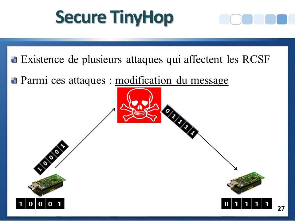 Secure TinyHop Existence de plusieurs attaques qui affectent les RCSF