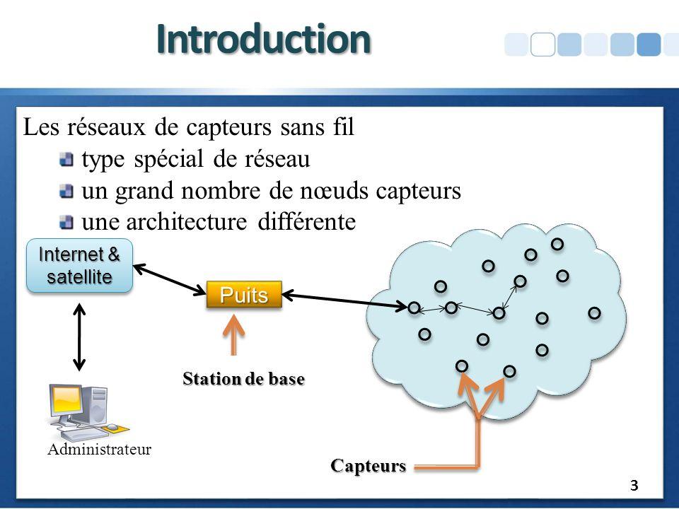 Introduction Les réseaux de capteurs sans fil type spécial de réseau