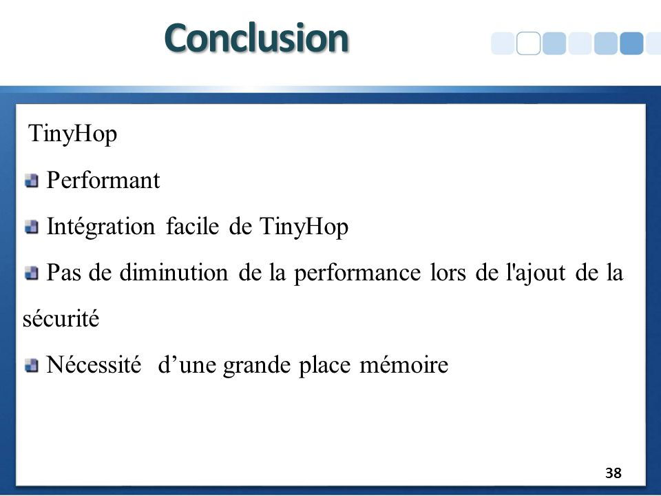 Conclusion Performant Intégration facile de TinyHop