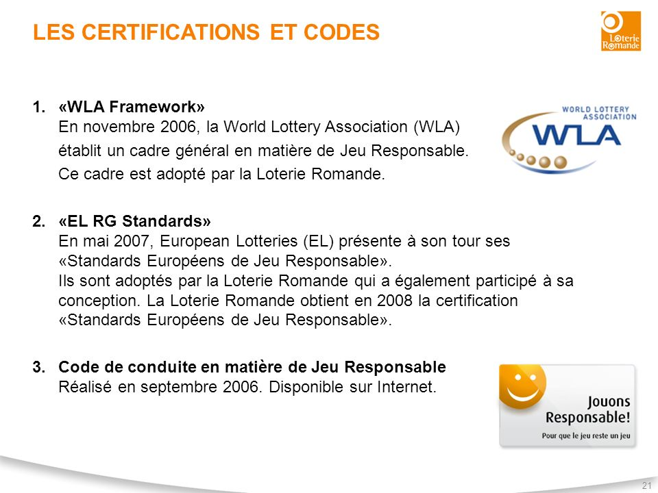 Les certifications et codes