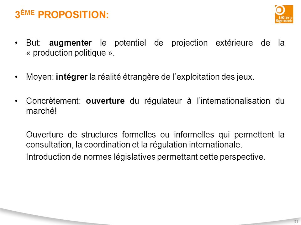 3ème proposition: But: augmenter le potentiel de projection extérieure de la « production politique ».