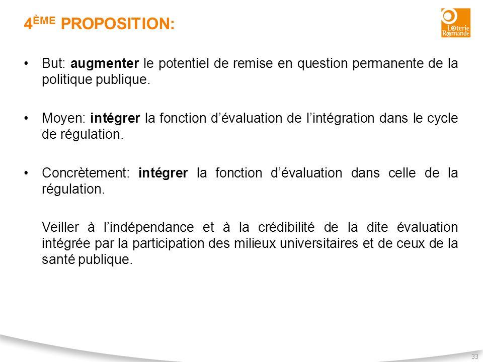 4ème proposition: But: augmenter le potentiel de remise en question permanente de la politique publique.