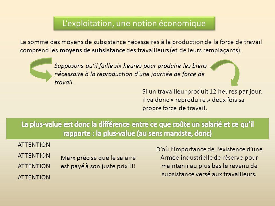 L'exploitation, une notion économique