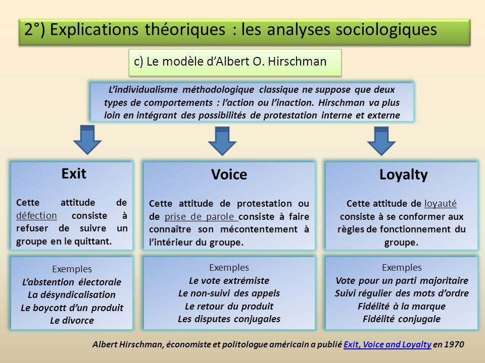 2°) Explications théoriques : les analyses sociologiques