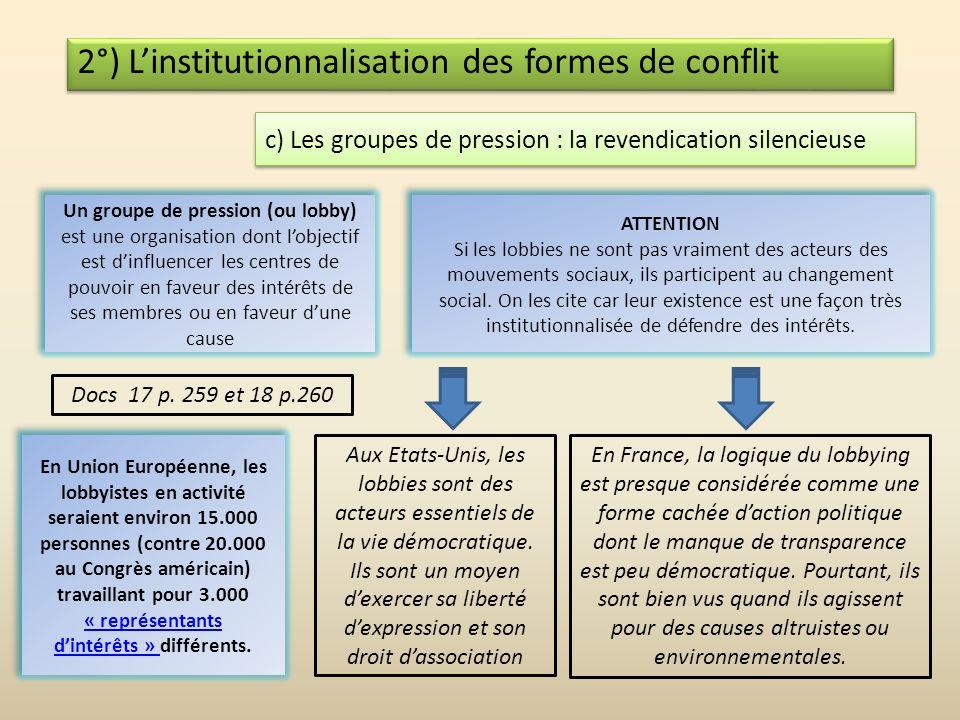 2°) L'institutionnalisation des formes de conflit